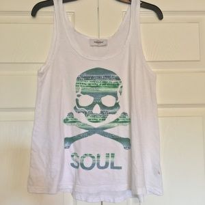 soulcycle l watercolor skull & crossbones tank top